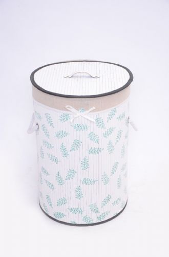 WHITE & GREEN LEAF BAMBOO LAUNDRY BASKET WASHING CLOTHES FOLD AWAY STORAGE BIN - ROUND